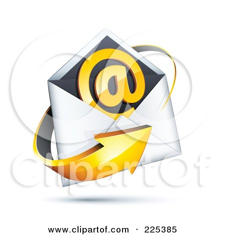 Royalty-Free (RF) Clipart Illustration of a 3d Orange Arrow Around An Envelope And At Symbol, On A Shaded White Background by beboy