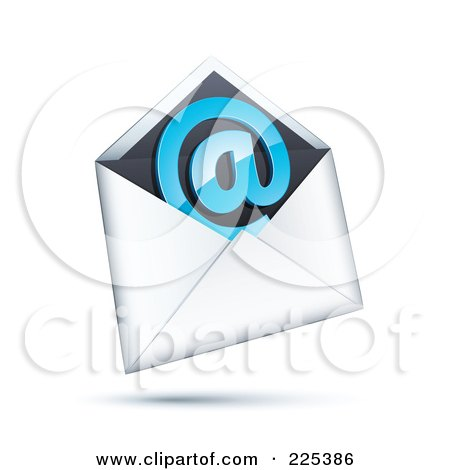 Royalty-Free (RF) Clipart Illustration of a 3d Blue At Symbol In A White And Black Envelope, On A Shaded White Background by beboy