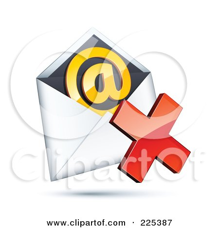 Royalty-Free (RF) Clipart Illustration of a 3d Red X Mark Over An Envelope With An Orange At Symbol, On A Shaded White Background by beboy