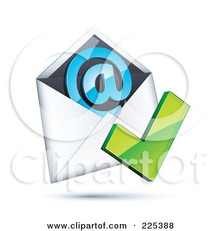 Royalty-Free (RF) Clipart Illustration of a 3d Green Check Mark Over An Envelope With A Blue At Symbol, On A Shaded White Background by beboy