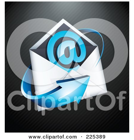 Royalty-Free (RF) Clipart Illustration of a 3d Blue Arrow Around An Envelope And At Symbol, On A Black Lined Background by beboy