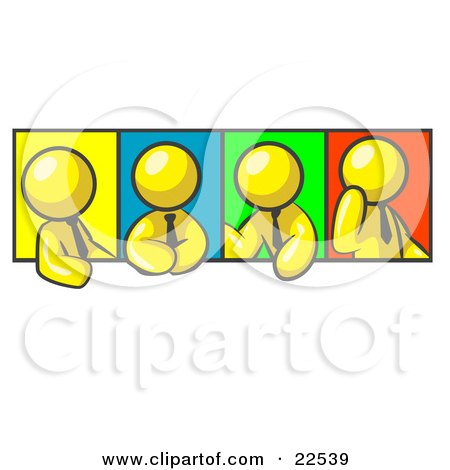 Clipart Illustration of Four Yellow Men In Different Poses Against Colorful Backgrounds, Perhaps During A Meeting by Leo Blanchette