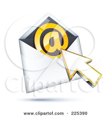 Royalty-Free (RF) Clipart Illustration of a 3d Cursor Arrow Over An Envelope With An Orange At Symbol by beboy