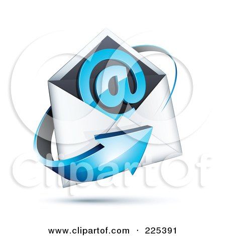 Royalty-Free (RF) Clipart Illustration of a 3d Blue Arrow Around An Envelope And At Symbol, On A Shaded White Background by beboy