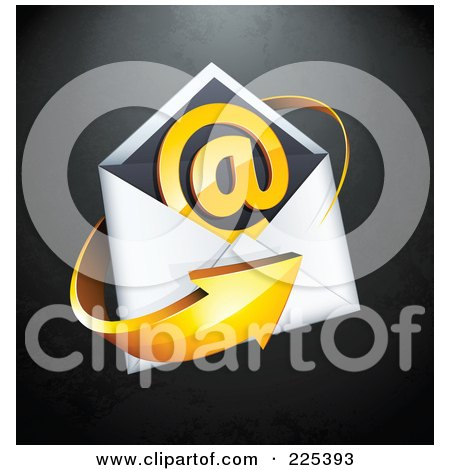 Royalty-Free (RF) Clipart Illustration of a 3d Orange Arrow Around An Envelope And At Symbol, On A Black Textured Background by beboy