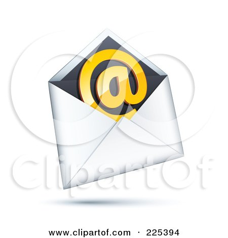 Royalty-Free (RF) Clipart Illustration of a 3d Orange At Symbol In A White And Black Envelope, On A Shaded White Background by beboy