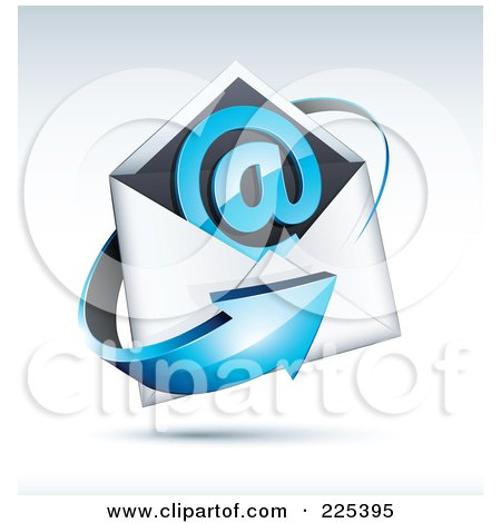 Royalty-Free (RF) Clipart Illustration of a 3d Blue Arrow Around An Envelope And At Symbol, On A Shaded Background by beboy