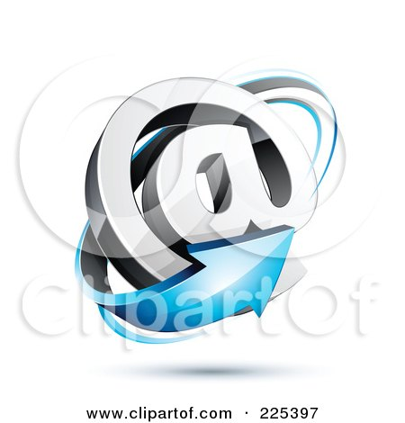 Royalty-Free (RF) Clipart Illustration of a 3d Blue Arrow Around An At Symbol, On A Shaded White Background by beboy