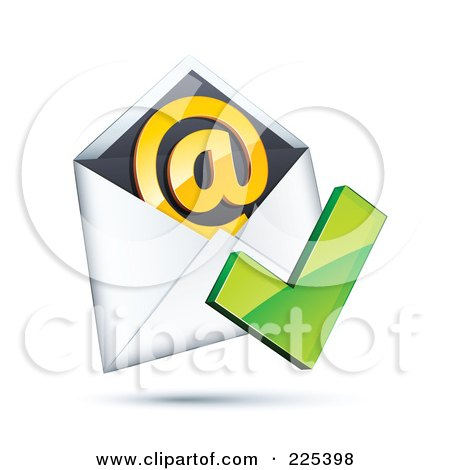 Royalty-Free (RF) Clipart Illustration of a 3d Red Check Mark Over An Envelope With An Orange At Symbol, On A Shaded White Background by beboy