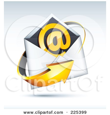Royalty-Free (RF) Clipart Illustration of a 3d Orange Arrow Around An Envelope And At Symbol, On A Shaded Background by beboy