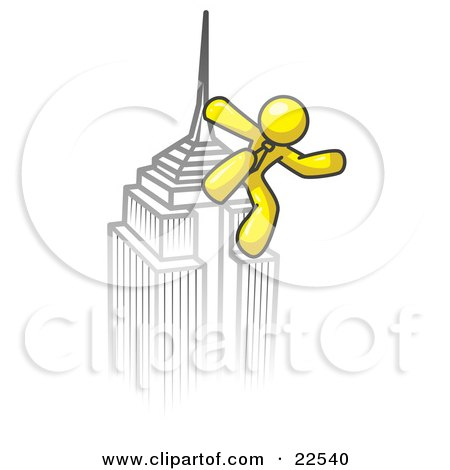 Clipart Illustration of a Yellow Man Climbing to the Top of a Skyscraper Tower Like King Kong, Success, Achievement by Leo Blanchette