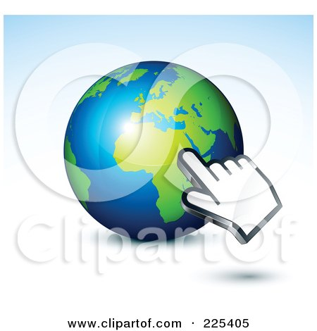 Royalty-Free (RF) Clipart Illustration of a 3d Computer Hand Cursor Pointing At A Green And Blue African Globe by beboy