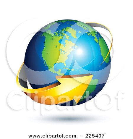 Royalty-Free (RF) Clipart Illustration of a 3d Orange Arrow Circling A Green And Blue American Globe by beboy