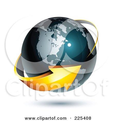 Royalty-Free (RF) Clipart Illustration of a 3d Orange Arrow Circling A Dark Blue American Globe by beboy
