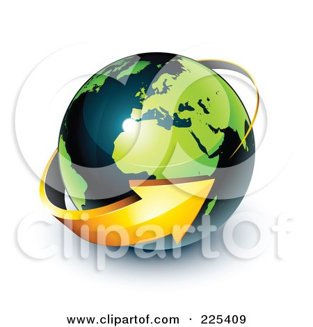 Royalty-Free (RF) Clipart Illustration of a 3d Orange Arrow Circling A Green And Dark Blue African And European Globe by beboy