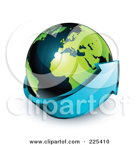 Royalty-Free (RF) Clipart Illustration of a 3d Blue Arrow Circling A Green And Dark Blue African And European Globe by beboy