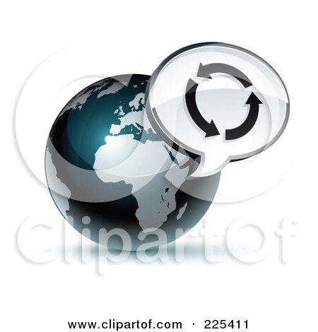 Royalty-Free (RF) Clipart Illustration of a 3d Shiny Dark Blue African Globe With A Circle Of Arrows Message Window by beboy