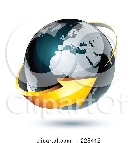 Royalty-Free (RF) Clipart Illustration of a 3d Orange Arrow Circling A Dark Blue African And European Globe by beboy