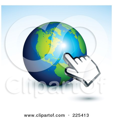 Royalty-Free (RF) Clipart Illustration of a 3d Computer Hand Curosr Pointing At A Gray And Blue American Globe by beboy