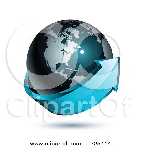 Royalty-Free (RF) Clipart Illustration of a 3d Blue Arrow Circling A Dark Blue American Globe by beboy