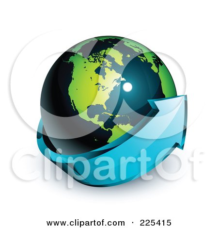 Royalty-Free (RF) Clipart Illustration of a 3d Blue Arrow Circling A Green And Dark Blue American Globe by beboy