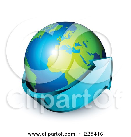Royalty-Free (RF) Clipart Illustration of a 3d Blue Arrow Circling A Green And Blue African And European Globe by beboy