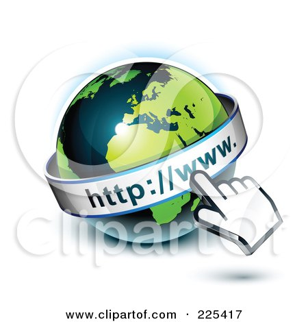 Royalty-Free (RF) Clipart Illustration of a 3d Hand Computer Curosr Pointing At A Green And Dark Blue African Globe by beboy