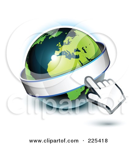 Royalty-Free (RF) Clipart Illustration of a 3d Hand Computer Curosr Pointing At A Banner On A Green And Dark Blue African Globe by beboy