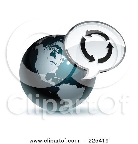 Royalty-Free (RF) Clipart Illustration of a 3d Shiny Dark Blue American Globe With A Circle Of Arrows Message Window by beboy