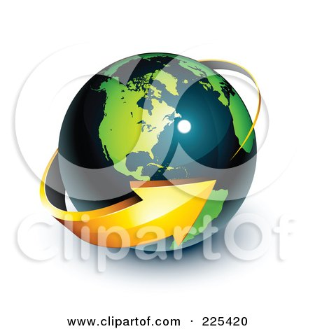 Royalty-Free (RF) Clipart Illustration of a 3d Orange Arrow Circling A Green And Dark Blue American Globe by beboy