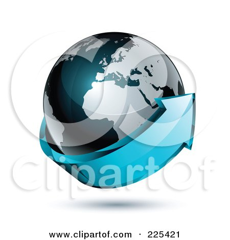 Royalty-Free (RF) Clipart Illustration of a 3d Blue Arrow Circling A Dark Blue African And European Globe by beboy