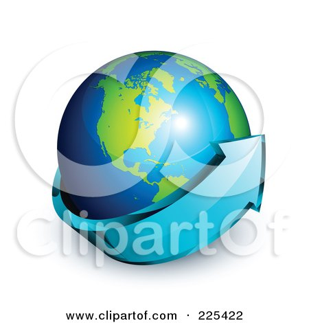 Royalty-Free (RF) Clipart Illustration of a 3d Blue Arrow Circling A Green And Blue American Globe by beboy