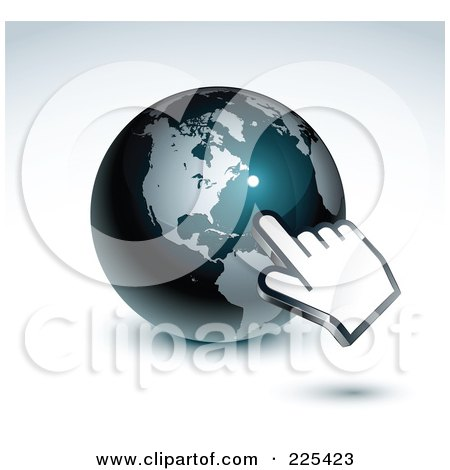 Royalty-Free (RF) Clipart Illustration of a 3d Hand Computer Curosr Pointing At A Gray And Dark Blue American Globe by beboy