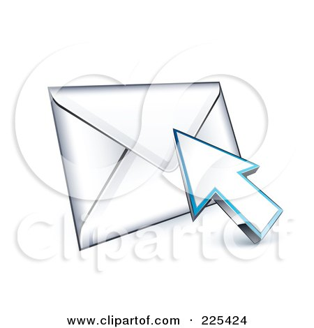 Royalty-Free (RF) Clipart Illustration of a 3d Arrow Cursor Clicking On An Envelope by beboy