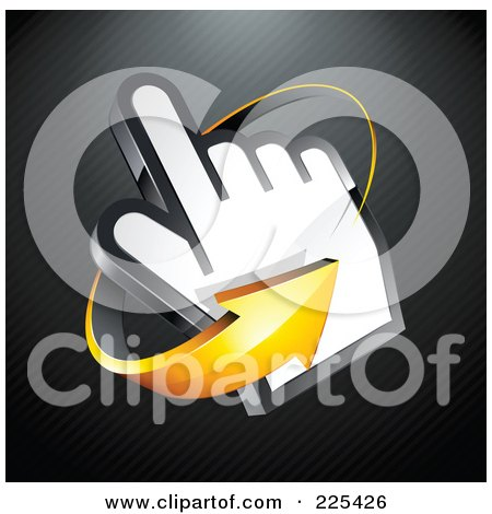 Royalty-Free (RF) Clipart Illustration of a 3d Orange Arrow Circling Counter Clockwise Around A Hand Cursor, On A Black Lined Background by beboy