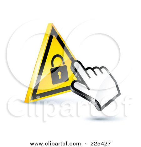 Royalty-Free (RF) Clipart Illustration of a 3d Hand Cursor Clicking On A Yellow Lock Button by beboy