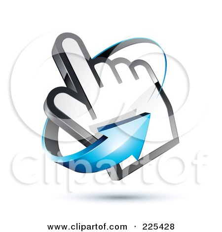 Royalty-Free (RF) Clipart Illustration of a 3d Blue Arrow Circling Counter Clockwise Around A Hand Cursor, On A Shaded White Background by beboy
