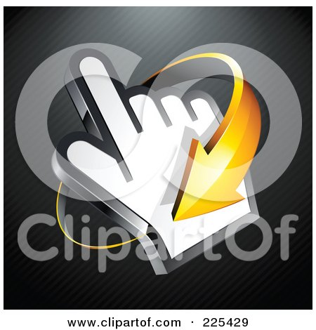 Royalty-Free (RF) Clipart Illustration of a 3d Orange Arrow Circling Clockwise Around A Hand Cursor, On A Black Lined Background by beboy