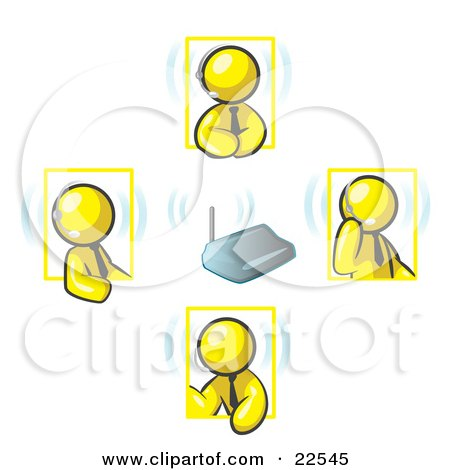 Clipart Illustration of Yellow Men Holding A Phone Meeting And Wearing Wireless Headsets by Leo Blanchette
