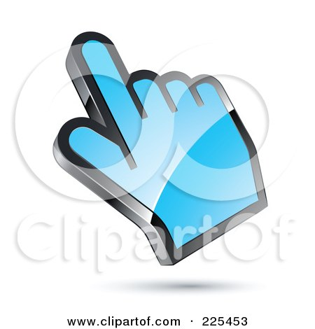 Royalty-Free (RF) Clipart Illustration of a 3d Shiny Blue Computer Cursor Hand by beboy