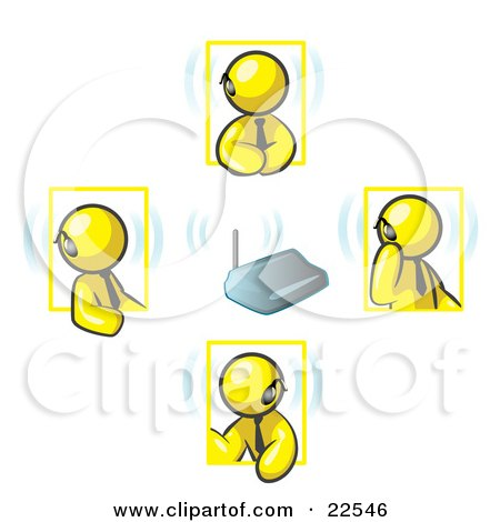 Clipart Illustration of a Group of Four Yellow Men Holding A Phone Meeting And Wearing Wireless Bluetooth Headsets by Leo Blanchette