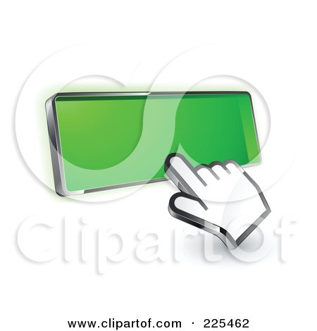 Royalty-Free (RF) Clipart Illustration of a 3d Hand Cursor Clicking On A Blank Green Button by beboy