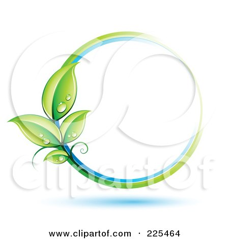 Royalty-Free (RF) Clipart Illustration of a 3d White Circle With White, Blue And Green Lines And Dewy Leaves by beboy