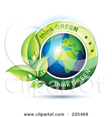 Royalty-Free (RF) Clipart Illustration of a 3d Shiny African Globe With Green Leaves And Think Green Text by beboy