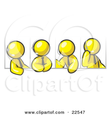 Clipart Illustration of Four Different Yellow Men Wearing Headsets And Having A Discussion During A Phone Meeting by Leo Blanchette