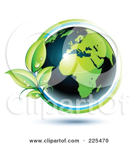 Royalty-Free (RF) Clipart Illustration of a 3d Shiny Green And Dark Blue African Globe Circled With Blue And Green Lines And Dewy Leaves by beboy