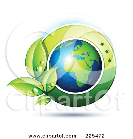 Royalty-Free (RF) Clipart Illustration of a 3d Shiny African Globe With Dewy Green Leaves And A Green Circle by beboy