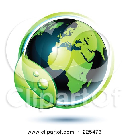 Royalty-Free (RF) Clipart Illustration of a 3d Shiny Green And Dark Blue African Globe Circled With Blue And Green Lines And A Dewy Leaf by beboy