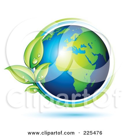 Royalty-Free (RF) Clipart Illustration of a 3d Shiny Gren And Blue African Globe Circled With Blue And Green Lines And Dewy Leaves by beboy