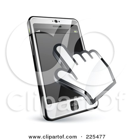 Royalty-Free (RF) Clipart Illustration of a 3d Hand Cursor Using A Touch Cell Phone by beboy